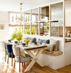 Kitchen Nook Design Ideas With Banquette Seating - Page 40 of 49 - channing news Kitchen Nook, Living Room Kitchen, Home Decor Kitchen, Home Kitchens, Decorating Kitchen, Kitchen Ideas, Kitchen Banquette, Kitchen Windows, Kitchen Modern