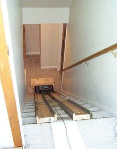 Winches Ramps move myself tips .use a car battery for power ! Basement Stairway, Garage Stairs, Stair Elevator, Roofing Tools, Stairs Canopy, Cantilever Stairs, Stair Lift, Stair Gallery, Building Stairs