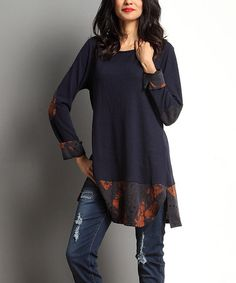 Love this Navy Floral Elbow Patch Scoop Neck Tunic by Reborn Collection on Clothing Patterns, Dress Patterns, Simple Blouse Pattern, Modest Fashion, Fashion Outfits, Fashion Ideas, Maxi Skirt Tutorial, Elbow Patches, Dresses With Leggings