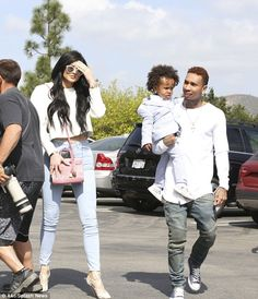 Bonding: Kylie's rumoured boyfriend Tyga arrived with his two-year-old son King Cairo