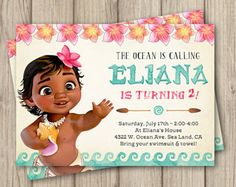 MOANA cumpleaños invitación, invitación de Moana de bebé, bebé invitación fiesta de cumpleaños de Moana, chica Moana partido, Digital invitación 5 x 7