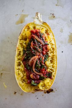 Spaghetti Squash with Chard and Fire Roasted Tomatoes by edibleperspective #Spaghetti_Squash #Chard #Tomatoes #GF #Healthy
