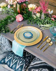 Turquoise + magenta accented with gold, greens, and blush tones.. all wrapped up in our modern bohemian wedding editorial today. See our profile link for the rest.  Photo: @emilywrenphoto