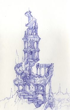 zeichnung – Keep up with the times. Fantasy World, Fantasy Art, Art Sketches, Art Drawings, Illustration Fantasy, Environment Sketch, Ballpoint Pen Art, Fantasy Landscape, Environmental Art