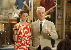 Roger and 2nd wife, Jane, at Don's birthday party, Season 5, Ep. 1