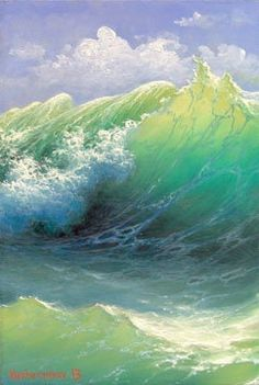 Highrise Wave 9x 6 original oil painting by vladimirmesheryakov, $199.99 - Ocean art