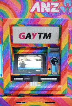 Glitter: The cash machines around Sydney have been given a makeover to celebrate Mardi Gras
