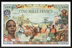 Central African Republic currency 5000 francs banknote of 1980, issued by the Bank of Central African States