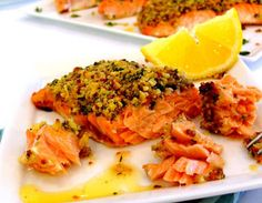Roasted Salmon with Lemon-Herb Matzo Crust #recipe