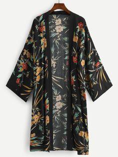 Plus Botanical Print Open Front Kimono -SheIn(Sheinside) Summer Kimono, Long Kimono, Kimono Top, Plus Size Kimono, Cool Outfits, Fashion Outfits, Inspiration Mode, Kimono Cardigan, Women Wear