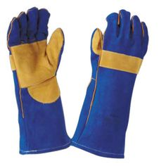 Welding gloves are used around the camp fire for lifting and moving Dutch ovens and other pots.