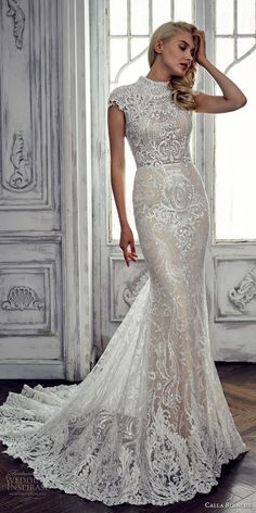 calla blanche spring 2017 bridal cap sleeves high neck full embellishment elegant ivory color sheath fit and flare wedding dress covered lace back chapel train (17104) mv -- Calla Blanche Spring 2017 Wedding Dresses