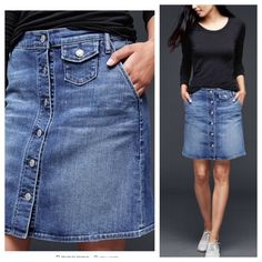 """Gap Denim Skirt Jean button down skirt with stretch. Very comfy, fits 2-4. 18"""" long  ~CONDITION: New with tags   No Trades ✅ Offer Button Welcome GAP Skirts"""