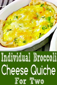 This individual broccoli cheese quiche is smooth, cheesy and creamy on the inside with a perfect flaky crust. This version is vegetarian but you could easily add in meats and other veggies. Single Serve Meals, Single Serving Recipes, Small Meals, Meals For Two, Quiche Recipes, Brunch Recipes, Batch Cooking, Cooking Recipes, Pasta Recipes