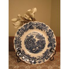 Vintage Booths China, Booths China Blue and White Soup Bowl with... (€14) ❤ liked on Polyvore featuring home, kitchen & dining, dinnerware, blue white bowl, rimmed soup bowls, vintage blue and white plates, blue and white bowl and english china