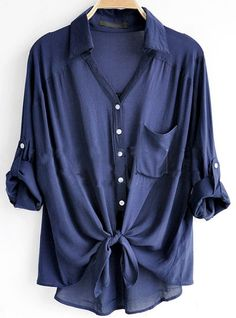 To find out about the Navy Revere Collar Three Quarter Length Sleeve Pocket Shirt at SHEIN, part of our latest Blouses ready to shop online today! Looks Style, Style Me, Look Fashion, Womens Fashion, Fashion News, Fashion Outfits, Loose Shirts, Big Shirts, Look Chic