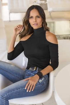 Trending Fashion | Women's Black So Sexy Cold-Shoulder Mock Neck Top by Boston Proper.