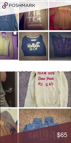 BUNDLE OF 8 HOLLISTER HOODIES PRICE OF ONE ZIPUPS Great condition. Variety. Sizes small-medium + one XS. This will be a fun surprise to come in the mail!!!! All hoodies are listed separately in my closet; can make offer on those/ get more info as well. Hollister Tops Sweatshirts & Hoodies