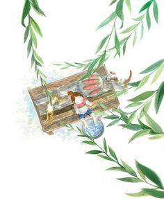 여름엔  시원한 나무그늘 아래  세숫대야에 물 받아 발 담그고  이 계절에 가장 잘 어울리는 수박을 먹어요.