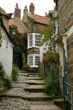 sidestreet of small English village - my heart yearns to travel back to these cobblestone paths.