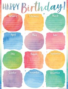 Watercolor Happy Birthday Chart Convenient, useful learning tools that decorate as they educate! Each chart measures 17 by Related lessons and activities are provided on the back of every chart. Birthday Chart Classroom, Birthday Bulletin, Birthday Charts, Kindergarten Classroom Decor, New Classroom, Classroom Themes, Birthday Tracker, Happy Birthday Posters, Teacher Created Resources