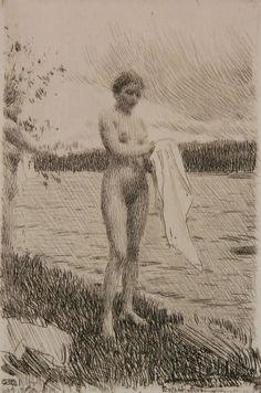 Anders Zorn (Swedish ''Dal River'' (Asplund 284 state)- etching, signed in pencil. Figure Sketching, Figure Drawing, Fine Art Drawing, Art Drawings, Portrait Art, Portraits, Art Jokes, Anatomy Art, Human Art