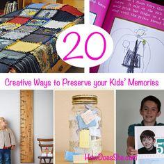 20 Creative Ways to Preserve your Kids' Memories # howdoesshe #organizing howdoesshe.com