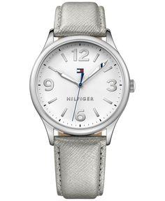 Tommy Hilfiger Women's Metallic Silver Leather Strap Watch 38mm 1781592