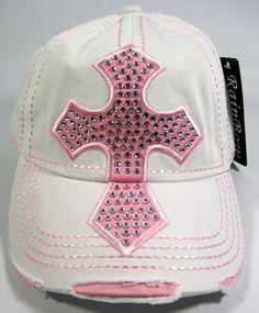 Rhinestone Cross Vintage Bling Baseball Cap - White   Pink Western Cowboy  Hats d9b506212d62