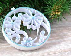 Paper Christmas tree decoration, floral Christmas, minimalist, quilling, paper, decorative personalized Christmas ornament ball