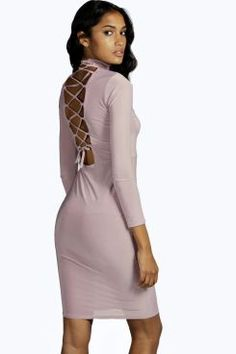 Rose Lace Up Back Slinky High Neck Midi Dress
