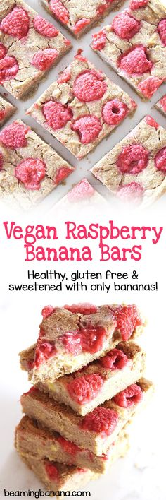 Soft and sweet banana bars loaded with tart, juicy raspberries. The perfect summertime snack! Vegan raspberry banana bars are super easy, made with just 5 healthy ingredients, and they're gluten free and totally fruit sweetened.