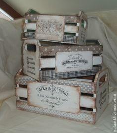 """Vintage cajas. Conjunto de cajas """"vintage cajas de"""" la obra de autor, realizados…"""