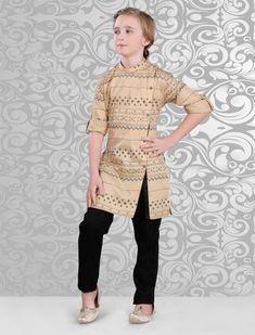 Linen Printed Beige Kurta with Black Pant Boys Kurta, Ethenic Wear, Boys Online, Kids Fashion Boy, Sherwani, Kurta Designs, Festival Wear, Online Shopping Stores, Kids Wear
