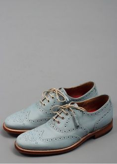 Grenson Martha Leather Brogue Shoes Light Blue | Triads