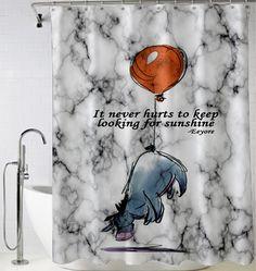 #Marble #Disney #Winnie The #Pooh #Eeyore #Sunshine #quotes #Shower #Curtain