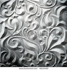 Silver metal plate with classic ornament (vintage collection) by caesart, via ShutterStock