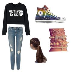 """""""Casual School"""" by ripley427 on Polyvore featuring Frame Denim and Converse"""