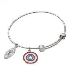 Captain America Crystal Stainless Steel Charm Bangle Bracelet ($75) ❤ liked on Polyvore featuring jewelry, bracelets, grey, crystal jewellery, grey jewelry, stainless steel bangles, stainless steel jewelry and crystal bangle