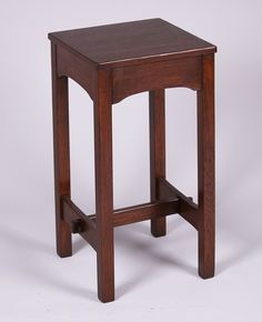 Early Gustav Stickley Plant Stand c1902. Signed. Refinished. 27.75″h x 14″ x 14″