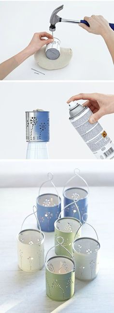 Diy To Do When Bored Projects - Diy Apartment Wall - - Tin Can Crafts, Crafts To Make, Fun Crafts, Tin Can Lanterns, Ideias Diy, How To Make Light, Recycled Crafts, Hobbies And Crafts, Diy Art