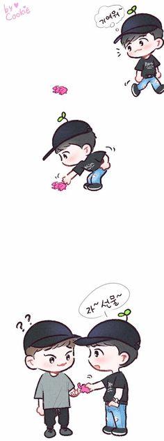 Exo Cartoon, Cartoon Art, Chibi, Exo Red Velvet, Exo Anime, Exo Fan Art, Kpop Exo, Kpop Fanart, Korean Artist