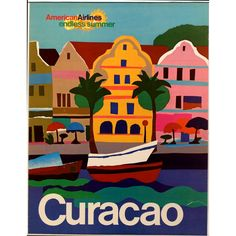American Airlines Endless Summer Curacao airline poster, c. 1971. Lithograph. via @National Air and Space Museum