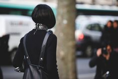 How French Girls Do Street Style For Fashion Week  #refinery29  http://www.refinery29.com/2016/03/105661/paris-fashion-week-fall-winter-2016-street-style-pictures#slide-62  Hello, turtleneck-assisted bob....
