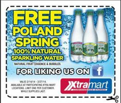 #XtraMart: #Printable #Coupon #Free #PolandSpring Natural #Sparkling #Water
