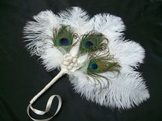 Ivory Ostrich Feather and Peacock Feather by IndigoDaisyWeddings