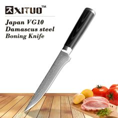 17.85$  Watch now - XITUO Damascus Boning knife 5.5 inch super sharp Japanese VG10 steel kitchen Utility knives Micarta handle Fish knife Chef Knife   #aliexpress