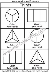 Fractions – Thirds – Coloring – One Worksheet / FREE Printable Worksheets – Worksheetfun Math Fractions Worksheets, Learning Fractions, 3rd Grade Math Worksheets, School Worksheets, Free Printable Worksheets, First Grade Math, Teaching Math, Fraction Chart, Math Sheets