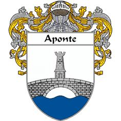 Aponte Coat of Arms   http://spanishcoatofarms.com/ has a wide variety of products with your Hispanic surname with your coat of arms/family crest, flags and national symbols from Mexico, Peurto Rico, Cuba and many more available upon request.