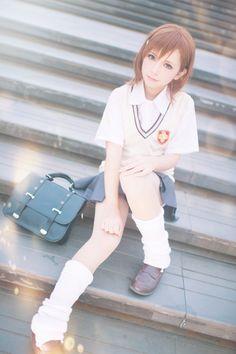 Misaka Mikoto - To Aru Kagaku No Railgun Couples Cosplay, Cosplay Diy, Cute Cosplay, Cosplay Girls, Cosplay Costumes, Fashion Socks, Girl Fashion, Pose Reference, White Jeans